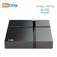 Smart BOX Android 8 1 4G 32G Wechip V8 Max TV Box Amlogic S905X2 2 4G+5G  wifi Media Player Support 3D 4K HD Video Set Top Box