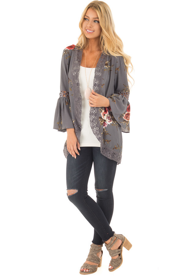 HTB1.ZLCEh1YBuNjy1zcq6zNcXXa2 Women Plus Size Loose Casual Basic Jackets Female 2018 Autumn Long Flare Sleeve Floral Print Outwear Coat Open Stitch Clothing