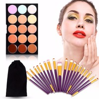 Makeup Tool Set 15 Colors Concealer 20PCS Makeup Brushes Black Flannel Bag 6 Types Hot Sales