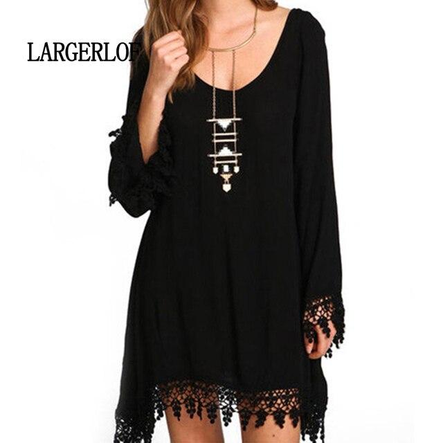 LARGERLOF Dresses Large Sizes Elegant Dress Plus Size Tassel Jumper Long  Sleeve Women DS57124