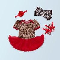 4 قطع لكل مجموعة قصيرة الأكمام الأحمر الوردي طفلة ليوبارد توتو اللباس الرضع تدفئة الساق الأحذية عقال 0-24Motnths