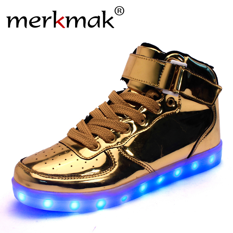 Merkmak Hot Sale Golden Silver Big Size 46 Led Shoes Men Glowing Cool Light Flat Shoes High-top Light up Boots for Adults size 36 43 led shoes glowing 7 colors led women fashion luminous led light up shoes for adults