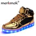 Merkmak venda quente ouro prata big size 46 levou sapatos homens Glowing Luz Fria Sapatos Baixos High-top Light up Botas para Adultos