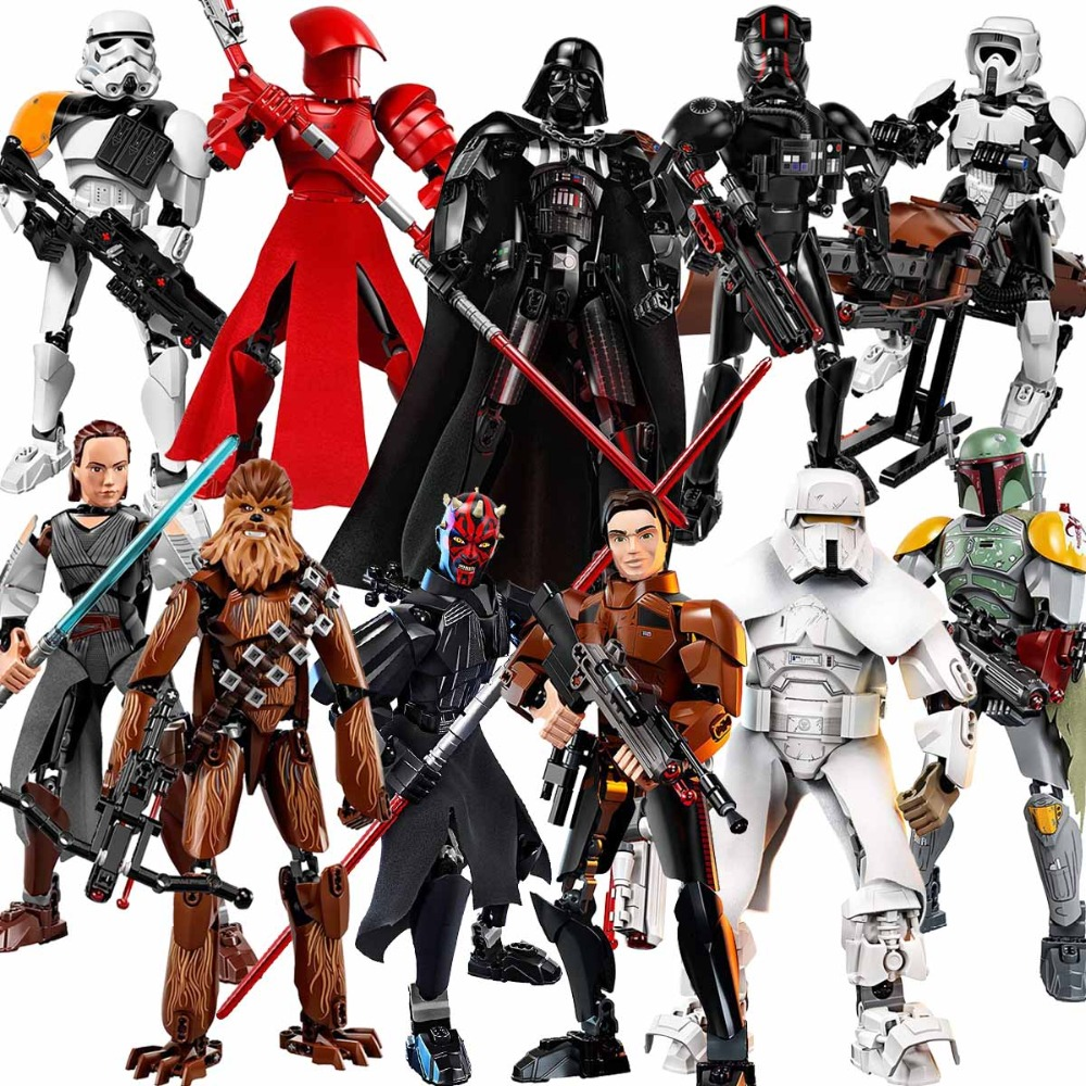 Star Wars Buildable Figure Building Block Toy Kylo Ren Chewbacca Darth Vader Boba Jango Fett Stormtrooper Compatible with legoed