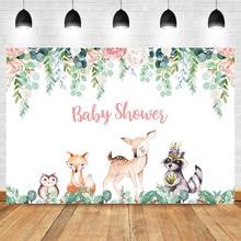Neoback Woodland Baby Shower Background for Photo Flower Animal Custom Photography Backdrops Studio Shoots