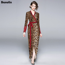 Designer Runway Dress High Quality 2018 Women Leopard Print Lace Sleeve Maxi Sexy Lady Deep V Neck Party With Belt