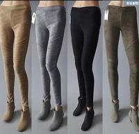 1002 Spring 2018 Suede Leather Pants Women Pleated Pencil Pants Skinny High Elastic Leggings Suede