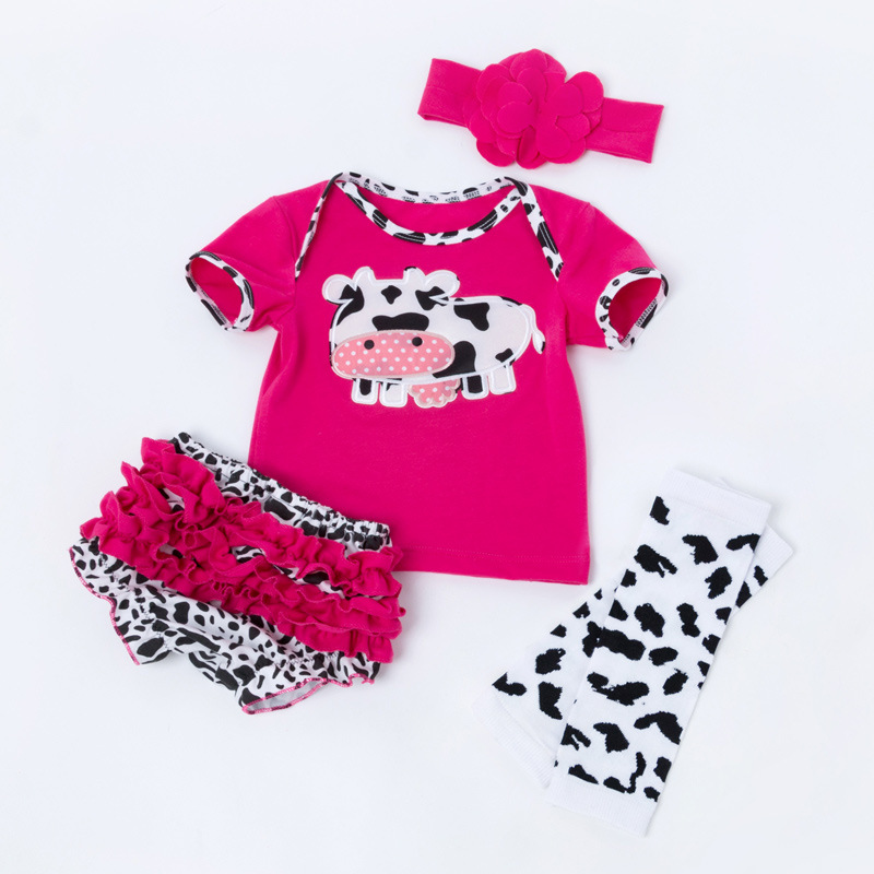 16cd681e4 Baby Girls Summer Cotton Clothes Set Milk Cow Short Sleeve Tshirt Pants  Flower Headband Leggings for 0-24M Outfit Bebe Clothing