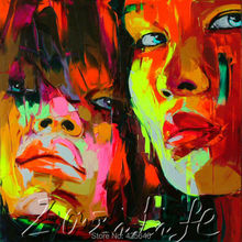 Palette knife portrait Face Oil painting christmas figure canva Hand painted Francoise Nielly wall Art picture223
