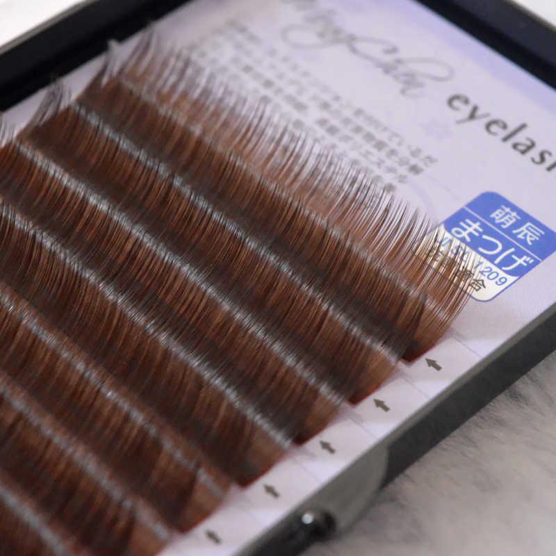 QSTY 0,07/0,10 B C pestañas postizas marrones extensiones de pestañas individuales suaves naturales de color pestañas falsas extensiones de pestañas de visón