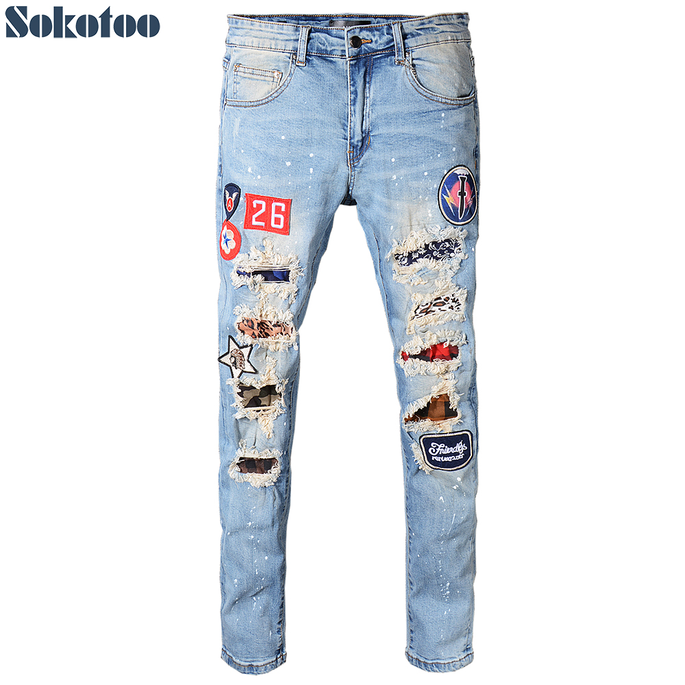 Sokotoo Men's plus size badge patches ripped   jeans   Slim skinny patchwork holes distressed stretch denim pants