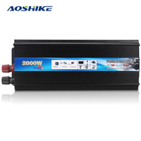 Aoshike 2000W Car Inverter DC 12V To AC 220V Power Inverter Charger Converter Transformer Vehicle Power