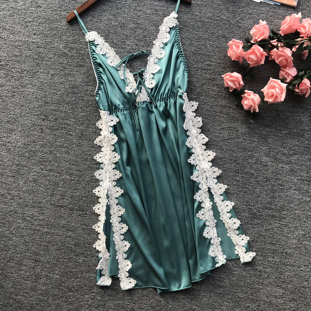 2019 Summer Nightdress Lace Nightwear Satin Sexy Spaghetti Strap Nightshirts Silk Sleepwear Women Nightgowns Sleepshirts