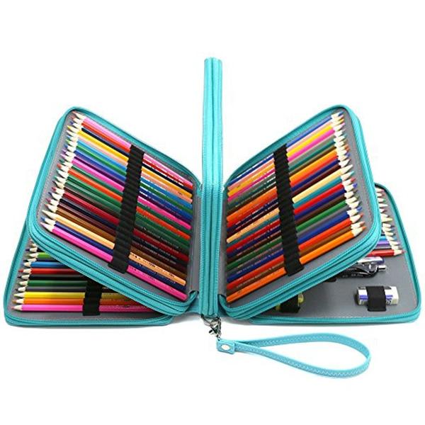 168 Slots Super Large Capacity Pen Bag With Zipper Strap For Prismacolor Watercolor Pencils, Colored Pencils, Marco Pe