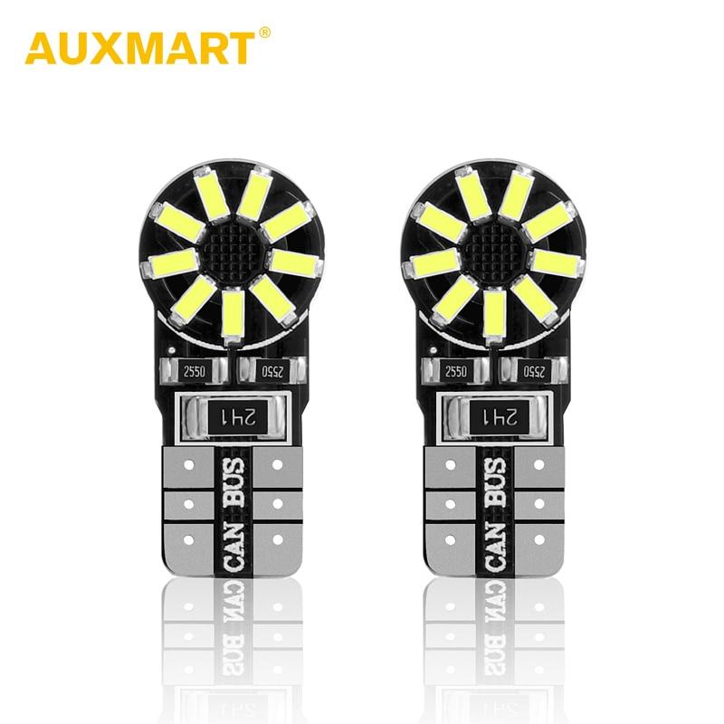 Auxmart 2pcs T10 Led License Plate Light 6000K Auto Dashboard Light W5W Clearance Lamp 194 Reading Light T10 Type Interior Bulbs auxmart triple row led chips 12 led