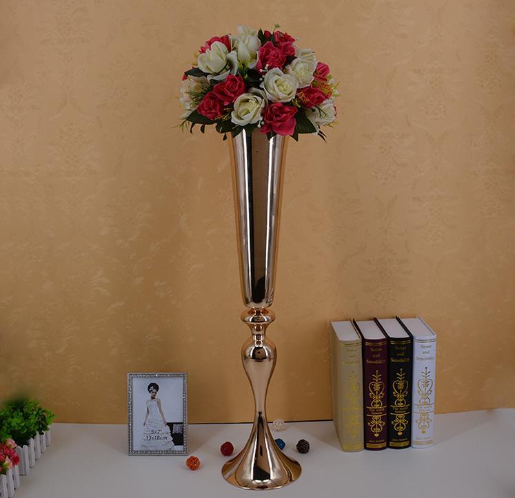 88cm / 34.6 Wedding Road Lead Flower Shelf Gold Table Stand for Wedding Centerpiece Decoration Flower Vase Column