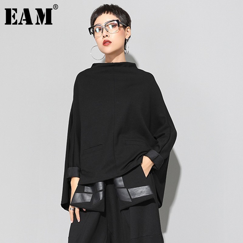 [EAM] 2020 New Spring Stand Collar Long Sleeve Black Loose Irregular Big Size Cloak Sweatshirt Women Fashion Tide JI949