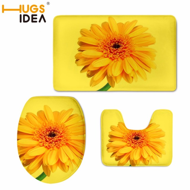 40cm round toilet seat. HUGSIDEA 3D Flower Printed Toilet Seat Cover Round Mat 3 Piece Set Warmer  Soft Bathroom Carpet