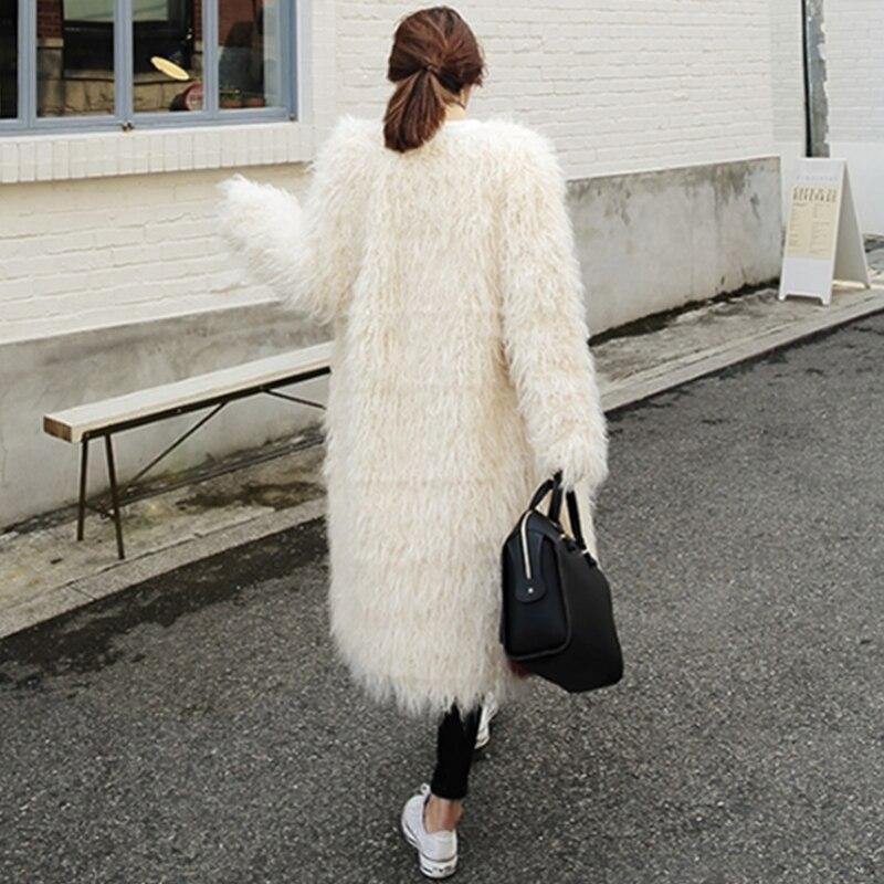 Pardessus Fluffy Lyw81 Automne Chic Chaud Fausse Fourrure Blanc Partie Long Manteau Milky Hiver White Survêtement Veste Femelle Femmes Élégant Poilu arax4
