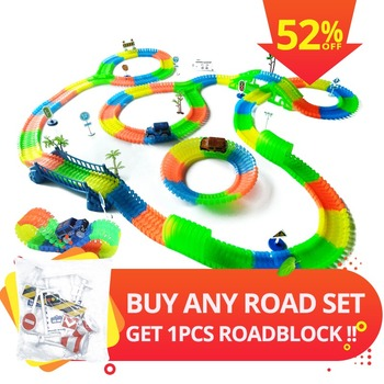 Railway Magical Glowing Flexible Track Car Toy Children Racing Flexible Track Led Flashing Light Up DIY Toy Electronic Car