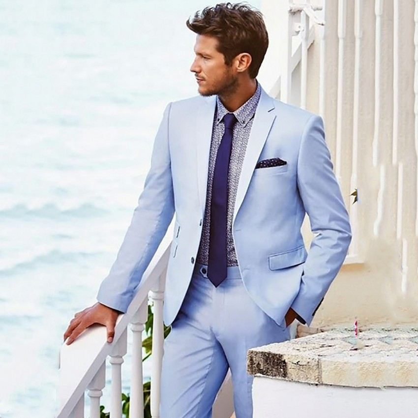 c7570d0280 US $96.78 |Light Blue Suit Men Casual Beach Wedding Suits For Men Custom  Groom Best Man Ternos 2 Pieces Men Suits With Pants Prom Suits-in Suits  from ...