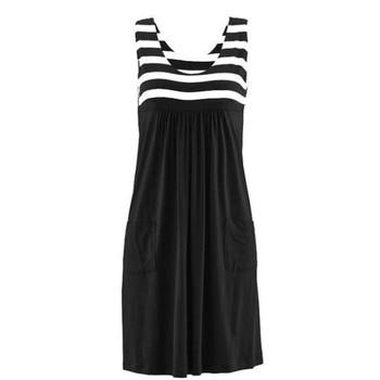 Модное платье в полоску, летнее платье большого размера, свободное простое платье без рукавов, женская одежда 5