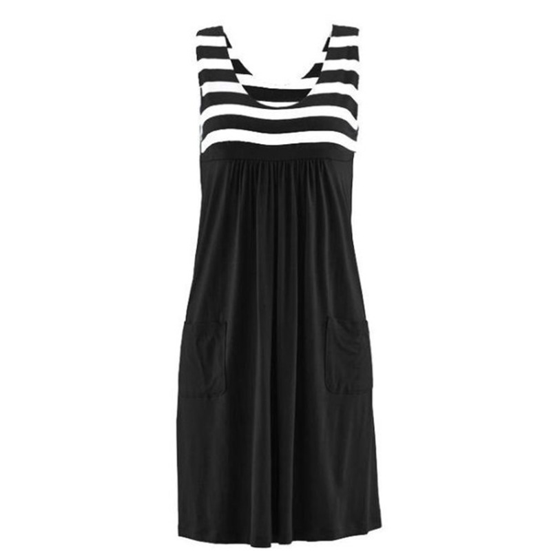 Fashion striped dress large size summer dress  loose simple sleeveless dress women's clothing 4