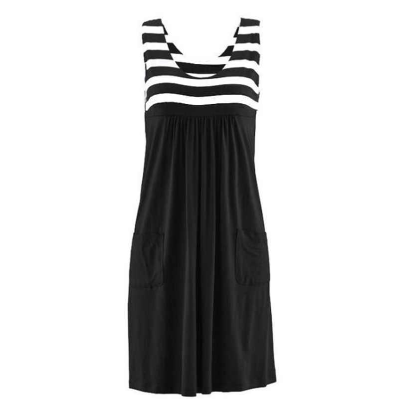 Mode robe rayée grande taille robe d'été ample simple robe sans manches vêtements pour femmes