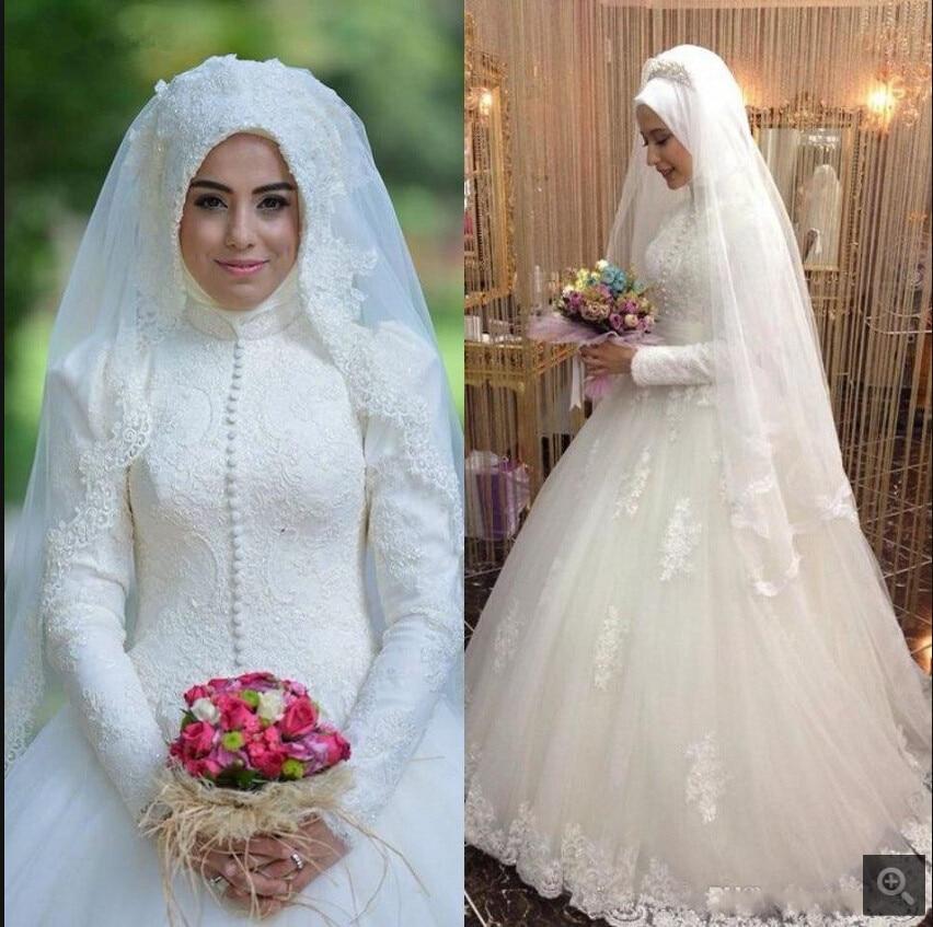 Us 2270 Sederhana Gaya Arab Gaun Pengantin Islam Muslim Lengan Panjang Wanita Pernikahan Gaun Arab Bola Gaun Renda Hijab Wedding Dress 2019 In