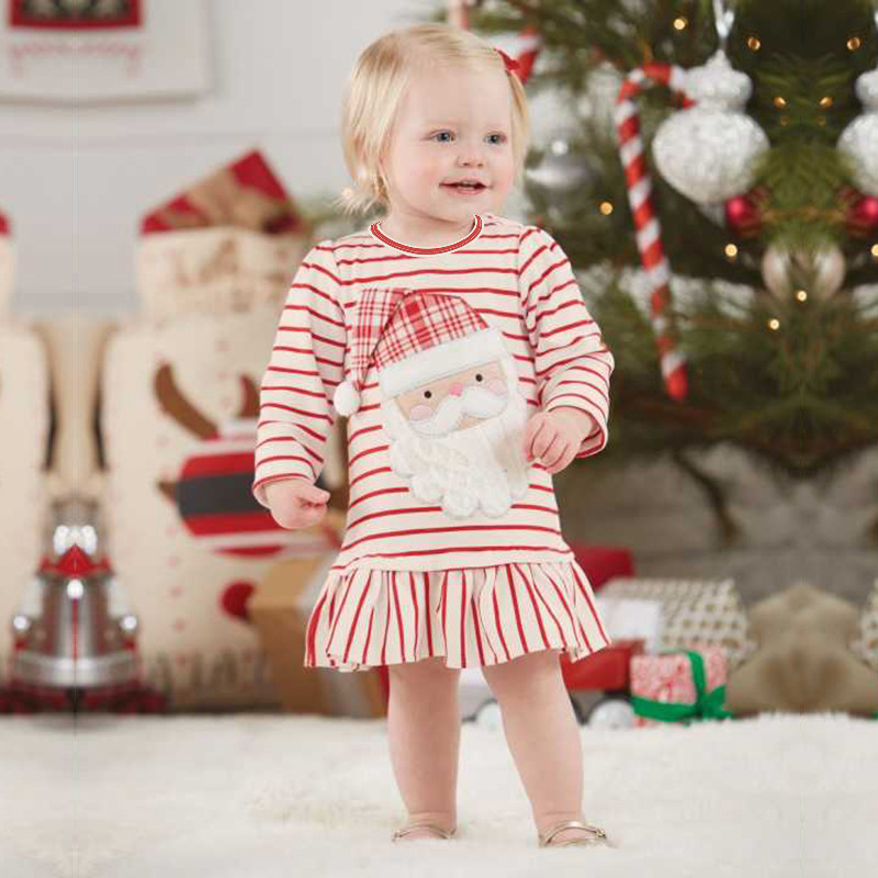 Christmas Baby Girls Dress Santa Claus Cartoon Princess Dress For Girl Party Dress Christening Gown Baptism Baby Clothes Gift sr039 newborn baby clothes bebe baby girls and boys clothes christmas red and white party dress hat santa claus hat sliders