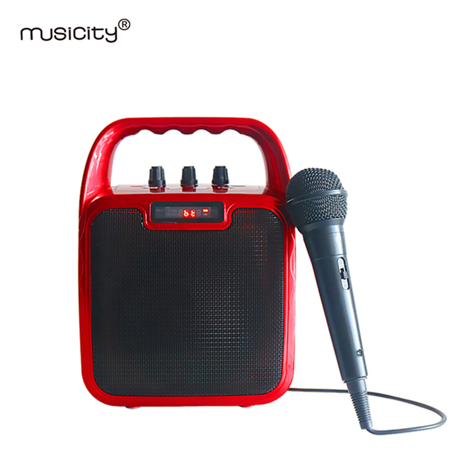 Musicity Karaoke Wireless Bluetooth Sound System Portable PA Speaker with Bass Stereo Music FM Radio USB SD 10W 6PCS kubei 290 wireless bluetooth v3 0 speaker w fm radio black