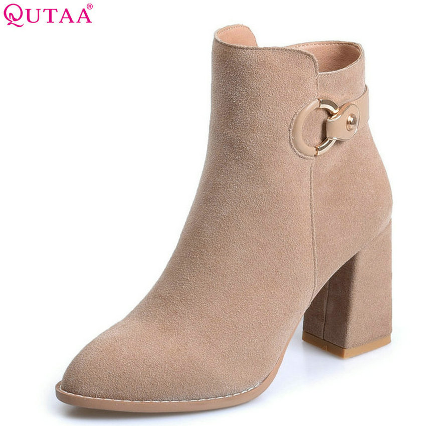 QUTAA 2018 Women Ankle Boots Fashion Zipper Square High Heel Pointed Toe All Match Solid Black Cow Suede Women Boots Size 34-39 qutaa 2017 women over the knee high boots all match pointed toe high quality thin high heel pointed toe women boots size 34 43