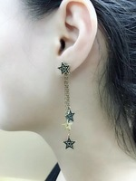 ZOZORI fashion new antique silver four star earrings vintage star long earring Famous brand jewelry women accessories