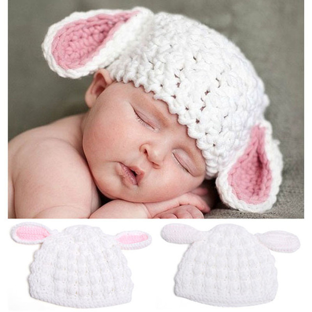 89a45c072ee Baby White and Pink Easter Bunny Rabbit Hat Newborn Crochet Knitted Animal Beanie  Cap Baby Hat Photo Props H063