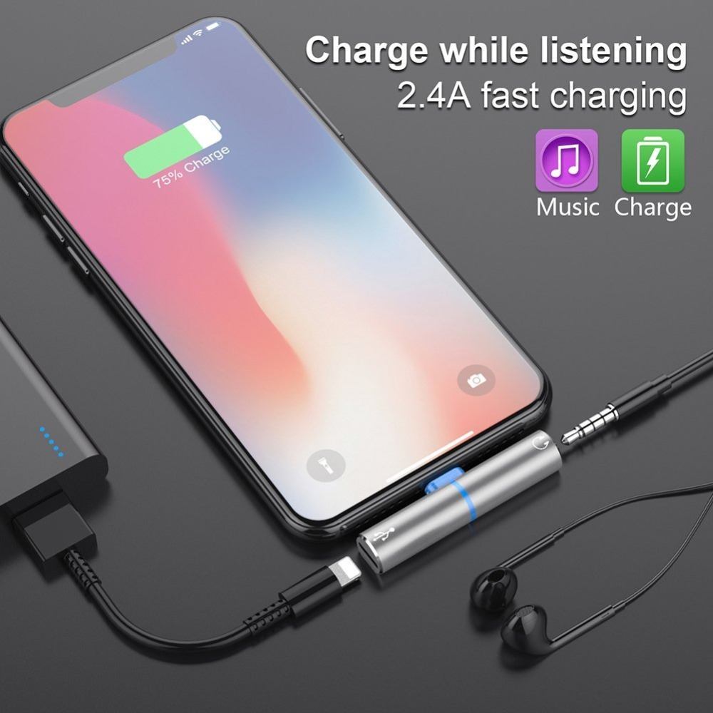 Audio Converter For lightning iPhone 7 8 X Charging