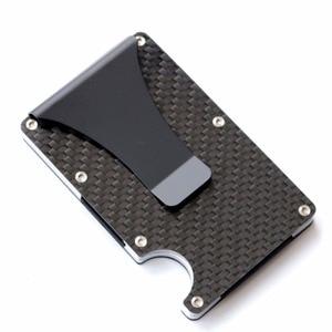2020 new design minimalist wallet rfid blocking for men carbon fiber wallet credit card holder(China)