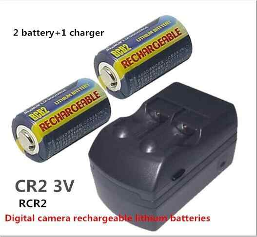NEW CR2 RCR2 250mah 15270 3V lithium battery charger Digital camera rechargeable Li ion lithium batteries(2 battery +1charger)