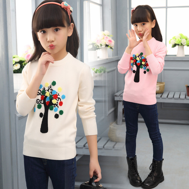 Big Girls Knitting Sweaters Christmas Pattern Children Clothing Spring Autumn School Teenage Girls Costumes Tops 7 9 11 13 Years