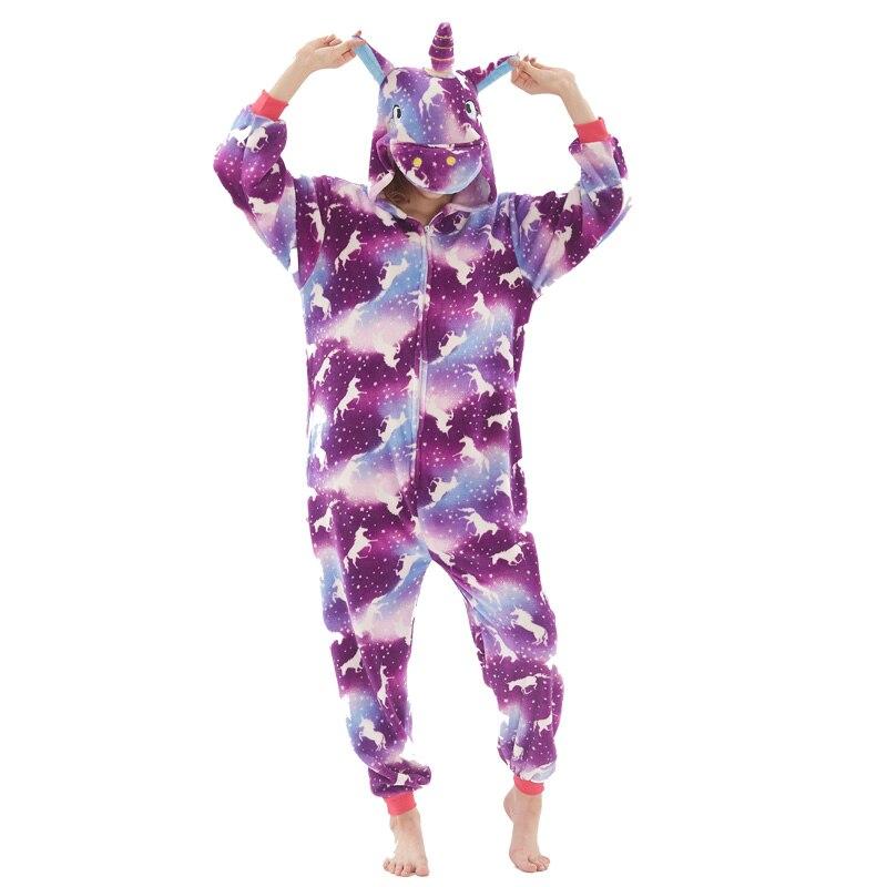 Purple Moon Christmas Deer Pajama Sets Cartoon Sleepwear Pajamas Women Flannel Animal Unicorn Pajamas Kigurumi