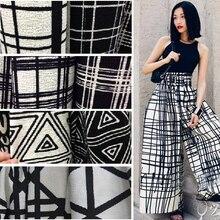 Customized 150cmwidth black white fold stripe lattice Tartan Plaid chiffon Cotton Cloth Fabric Shirt coat scarf