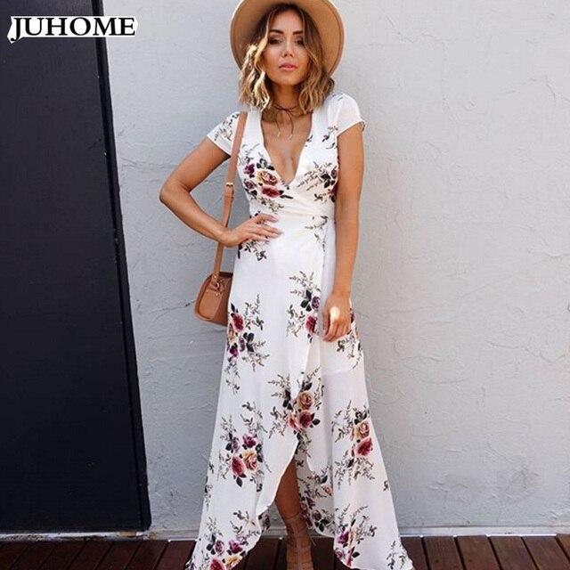 d5c61dbfff17b Plus size Boho stampa floreale chiffon split abito lungo vestiti Delle  Donne della spiaggia di estate