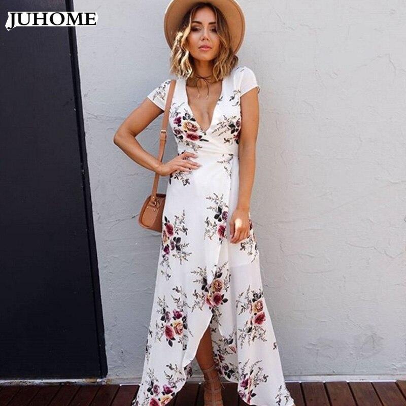 Plus Size Boho Floral Print Chiffon Split Long Dress Women -4930