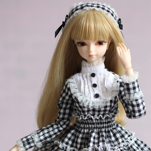 Clothes for 1/4 BJD 45cm Outfit Grid printed white and black Lace Dress Joint Body Free Shipping