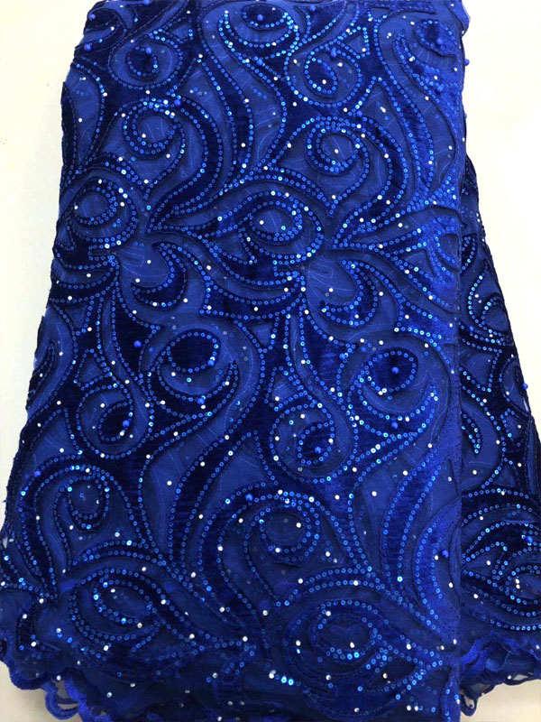 로얄 블루 고품질 아프리카 벨벳 레이스 패브릭 5 야드 2019 새로운 나이지리아 수 놓은 메쉬 그물 레이스 패브릭 mxs02-에서레이스부터 홈 & 가든 의  그룹 1