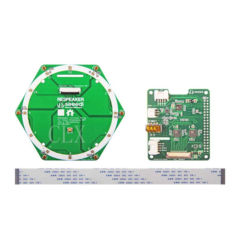 Respeaker Ring 6 Microphone Array Expansion Board Kit For Raspberry Pi 0/1/2/3/3B