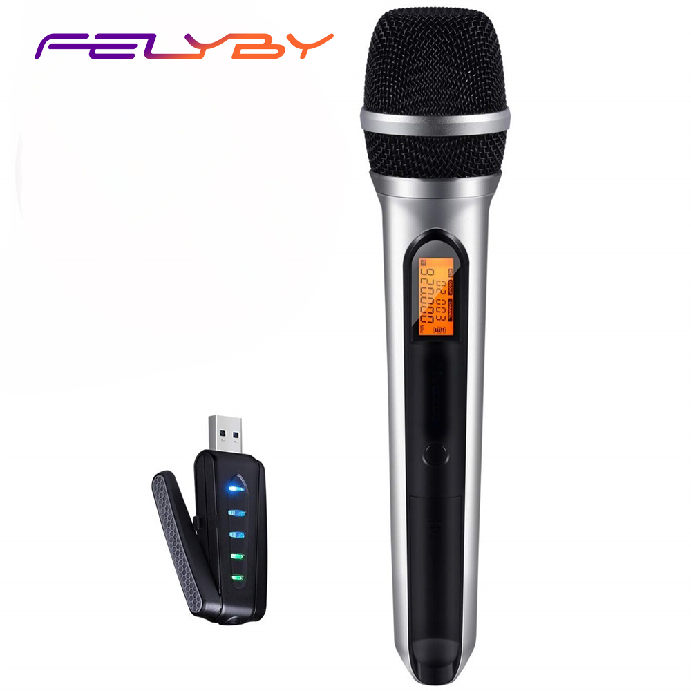 FELYBY USB UHF Wireless Microphone for Smartphone computer Laptop (System with USB Receiver)