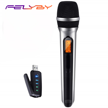 Micrófono inalámbrico FELYBY USB UHF para ordenador portátil inteligente (sistema con receptor USB)