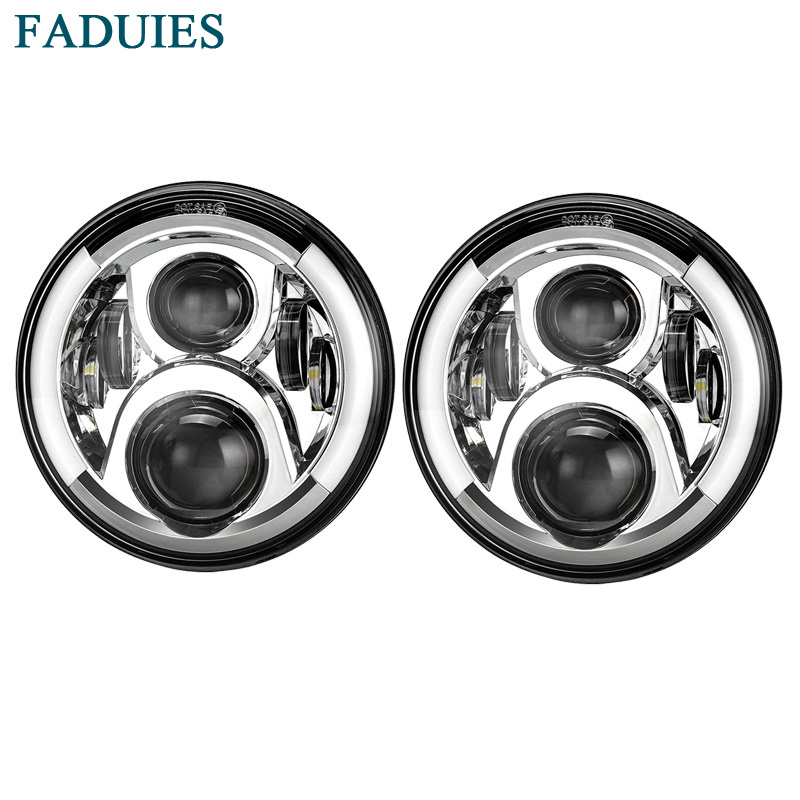 FADUIES Chrome 7 Inch Round High/Low Beam LED Headlight For Jeep Wngler Hummer Land rover defender For Lada 4x4 urban Niva black chrome round 75w high low beam drl led auto headlight driving fog lights for jeep wrangler hummer h1 h2 offroad