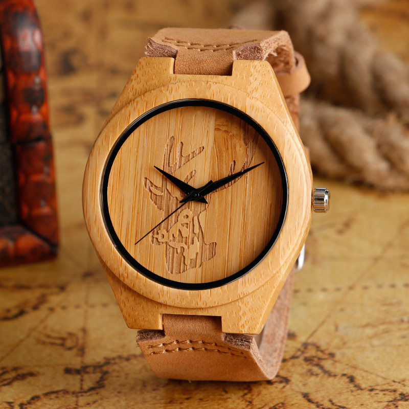 Wooden Watches Men Cool Deer Head Design Nature Bamboo Handmade Light Quartz Watch Men's Minimalist Wood Watches Male Clock Gift 019z luxury clock gift full wooden watches man creative sport bracelet analog nature bamboo quartz wristwatch male wood watch
