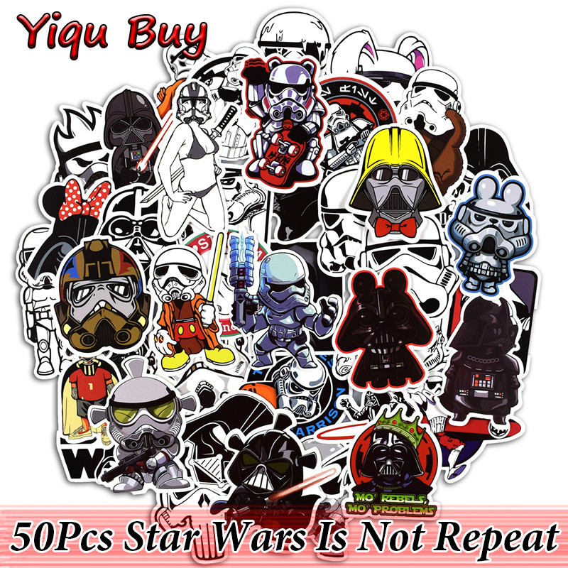50 Pcs Cool Star Wars Stickers for Laptop Luggage Car Styling Skateboard Home Decal Waterproof DIY Funny Sticker 14cm 9cm fashion x wing star wars funny vinyl car styling decal car stickers black silver s6 3687